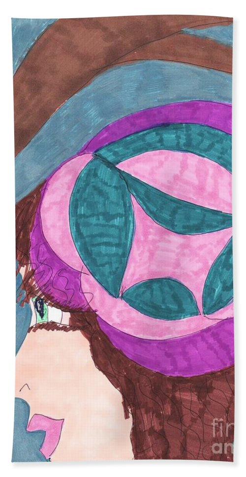 Pink Blue And Purple Hat On Brown Haired Girl Bath Sheet featuring the mixed media Going For A Walk by Elinor Helen Rakowski