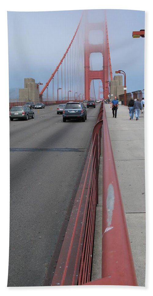 Bridge Hand Towel featuring the photograph Going North On Golden Gate Bridge by Christiane Schulze Art And Photography