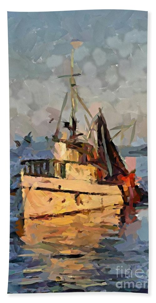 Seascape Hand Towel featuring the digital art Going To Night Fishing by Dragica Micki Fortuna