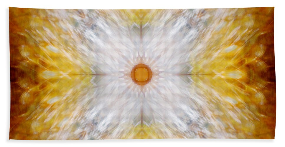 Gold Hand Towel featuring the photograph Gold And White Light Mandala by Susan Bloom