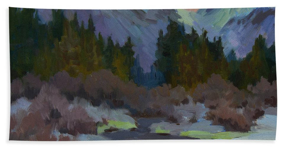Gold Creek Bath Sheet featuring the painting Gold Creek Snoqualmie Pass by Diane McClary