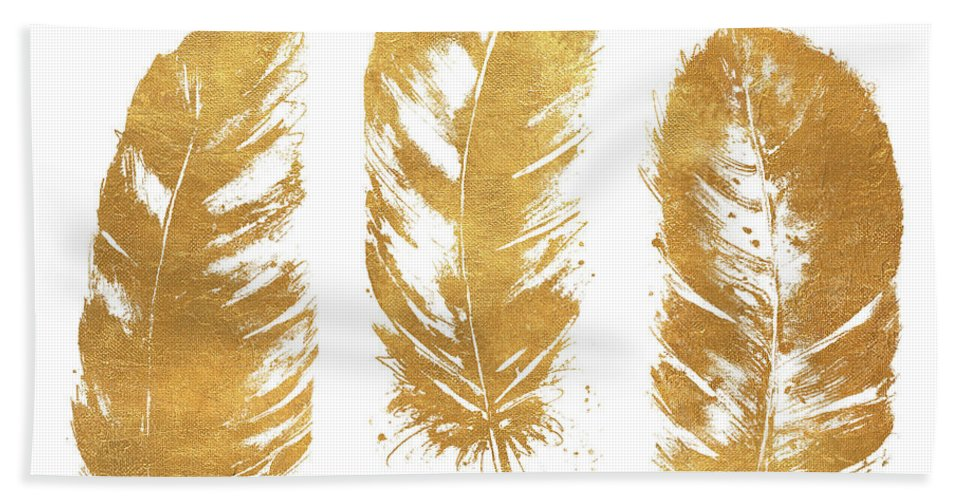 Gold Hand Towel featuring the mixed media Gold Feather Square by Patricia Pinto