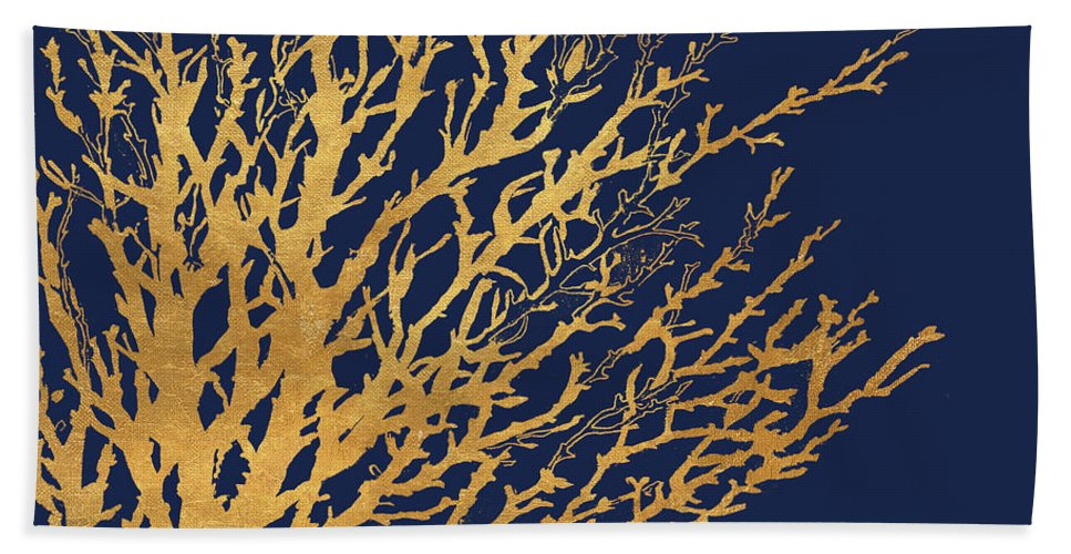 Gold Bath Towel featuring the mixed media Gold Medley On Navy by Lanie Loreth