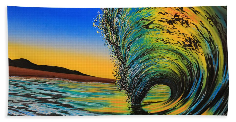 Surf Hand Towel featuring the painting Gold Rush by Marty Calabrese