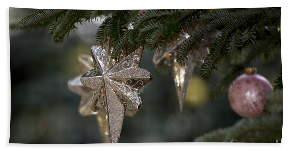 Gold Star Decoration Hand Towel featuring the photograph Gold Star Christmas Tree Ornament 4 Of 4 by Terri Winkler