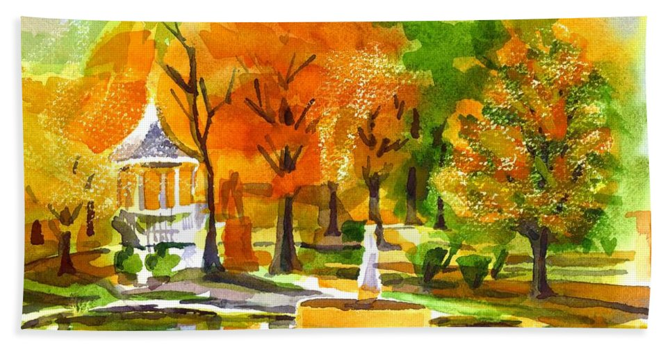 Golden Autumn Day 2 Hand Towel featuring the painting Golden Autumn Day 2 by Kip DeVore