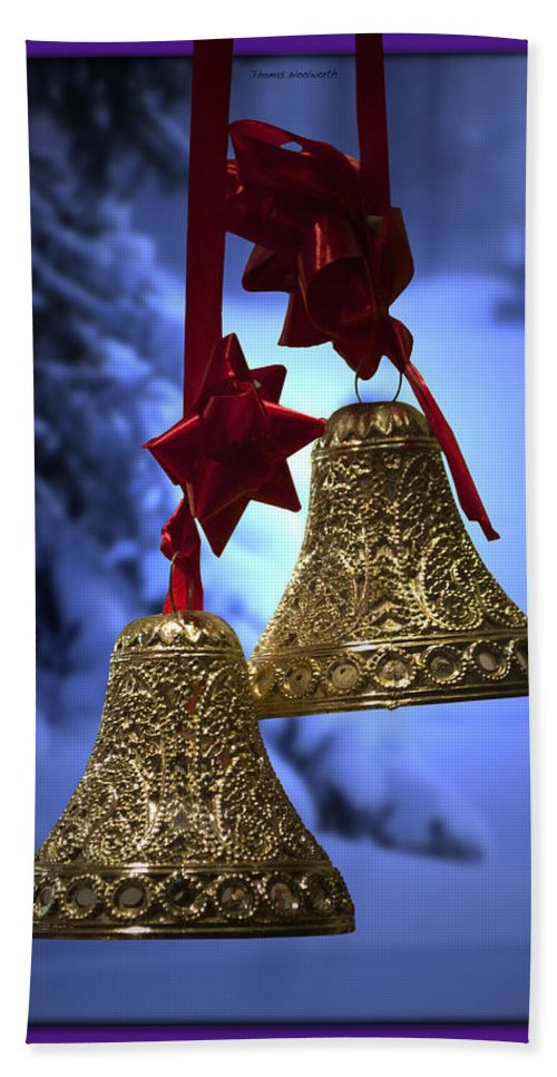 Purple Hand Towel featuring the photograph Golden Bells Purple Greeting Card by Thomas Woolworth