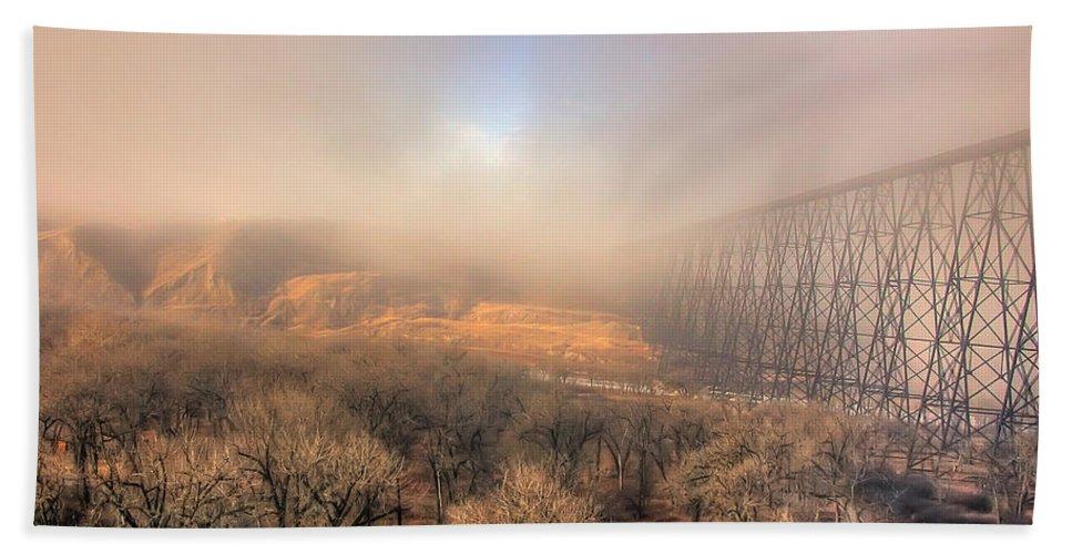High Level Bridge Hand Towel featuring the photograph Golden Bridge by Frank Welder