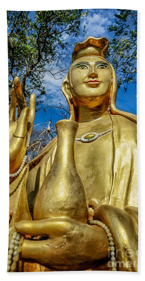 Hdr Hand Towel featuring the photograph Golden Buddha Statue by Adrian Evans