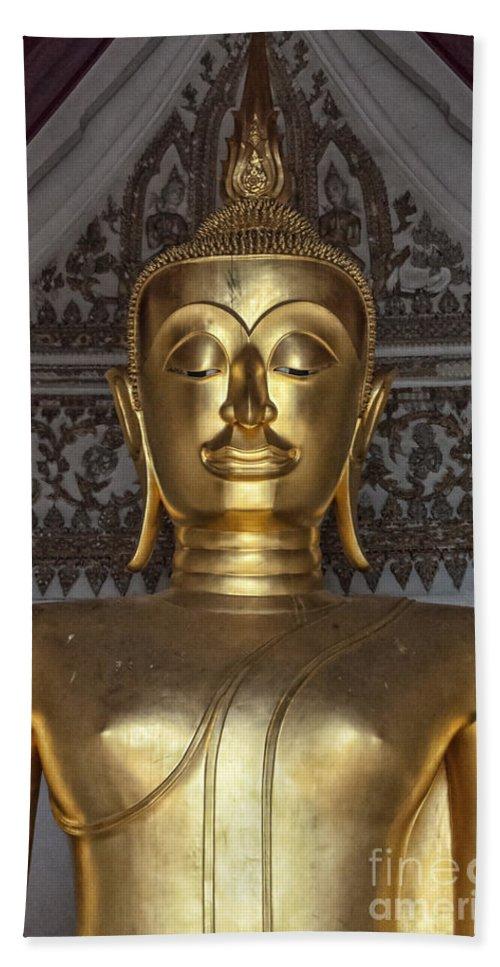 Buddhism Bath Sheet featuring the photograph Golden Buddha Temple Statue by Antony McAulay