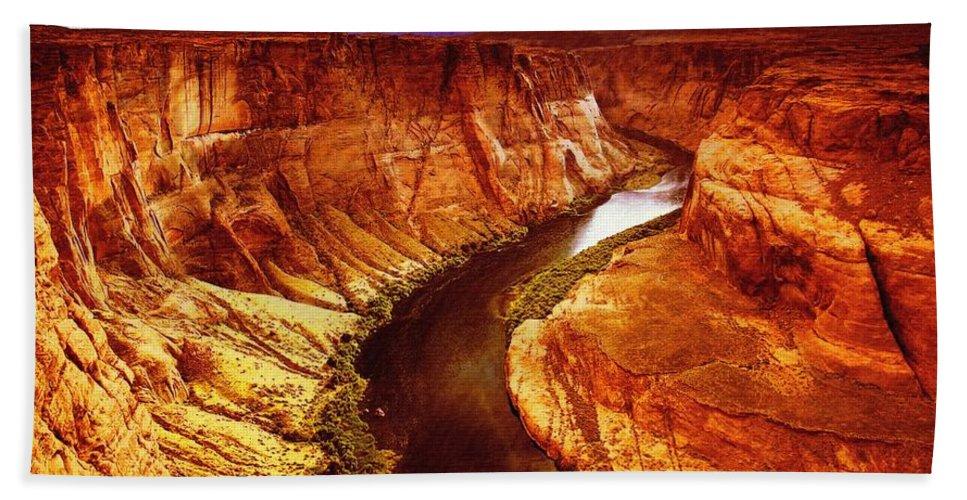 Waterfall Bath Sheet featuring the digital art Golden Canyon by Lyriel Lyra