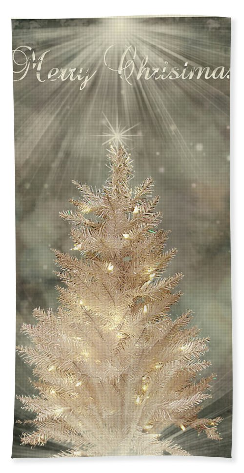 Christmas Cards Hand Towel featuring the digital art Golden Christmas Tree by Kristie Bonnewell