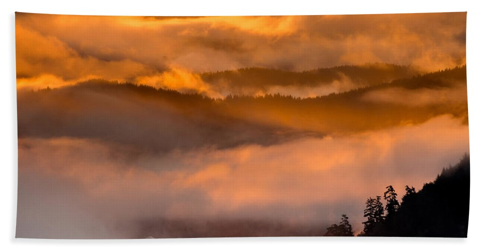 Dawn Hand Towel featuring the photograph Golden Clouds by Greg Nyquist