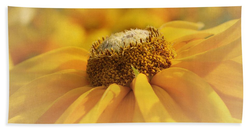 Yellow Flower Bath Sheet featuring the photograph Golden Crown - Rudbeckia Flower by Kim Hojnacki