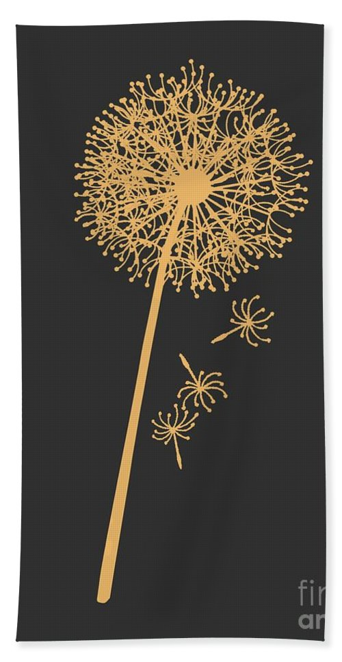 Dandelion Hand Towel featuring the digital art Golden Dandelion by Voros Edit
