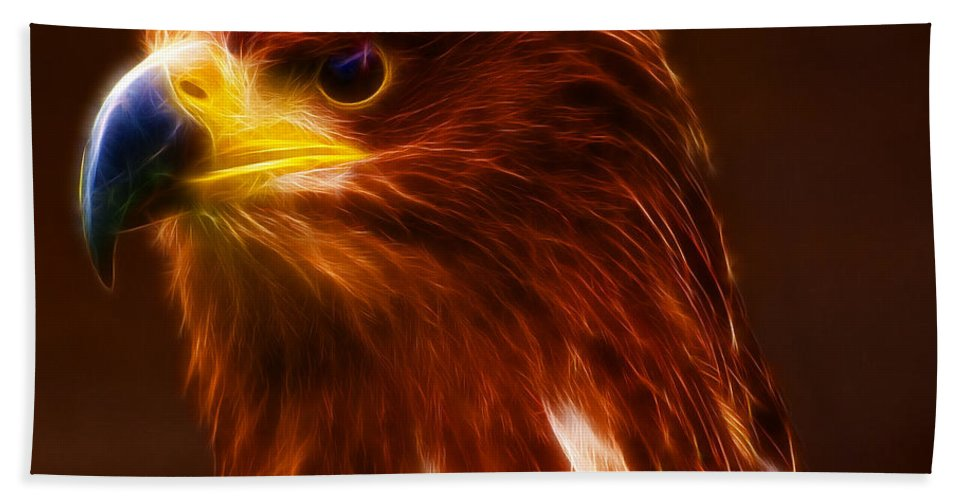 Golden Eagle Hand Towel featuring the photograph Golden Eagle Eye Fractalius by Chris Thaxter