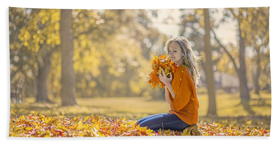 Girl Hand Towel featuring the photograph Golden Fall by Evelina Kremsdorf