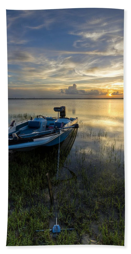 Boats Hand Towel featuring the photograph Golden Fishing Hour by Debra and Dave Vanderlaan