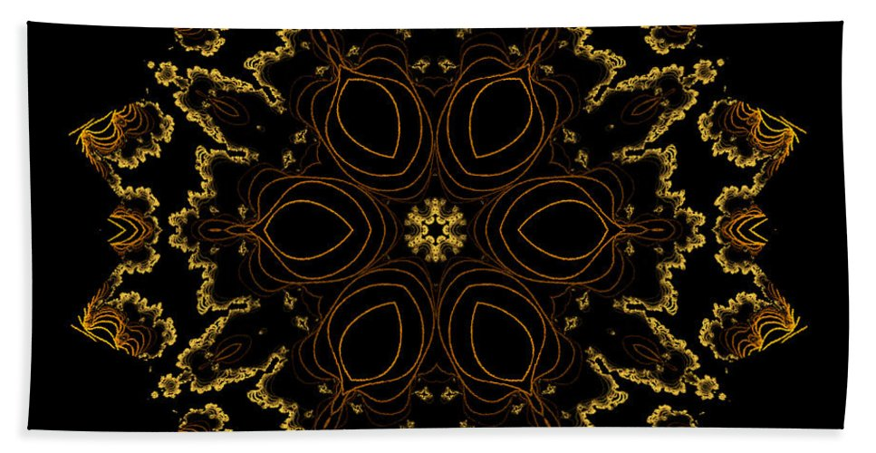 Owlspook Bath Sheet featuring the digital art Golden Flower Of The Night by Owlspook
