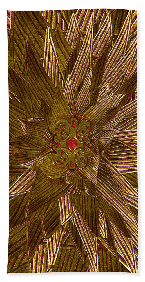 Gold Hand Towel featuring the photograph Golden Flower - Ruby Heart by Michele Avanti