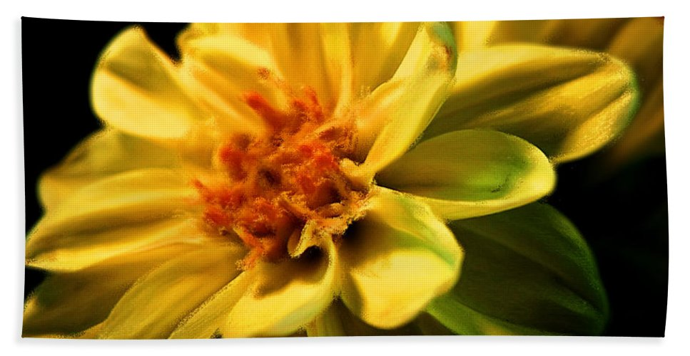 Flower Hand Towel featuring the photograph Golden Flower by Georgiana Romanovna