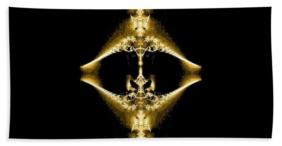 Golden Fractal Hand Towel featuring the digital art Golden Fractal by Maria Urso