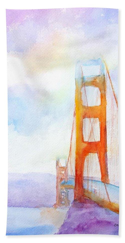 Golden Gate Bridge Hand Towel featuring the painting Golden Gate Bridge 2 by Carlin Blahnik CarlinArtWatercolor