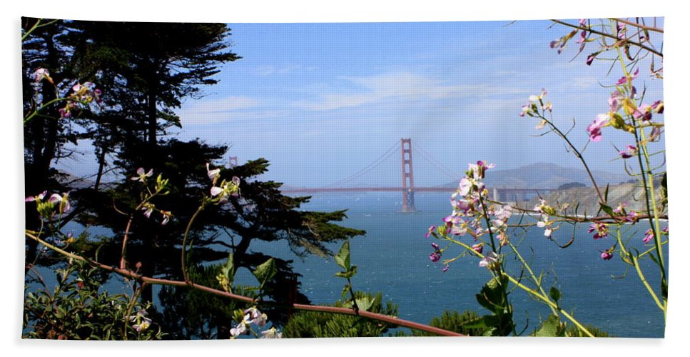 San Francisco Hand Towel featuring the photograph Golden Gate Bridge And Wildflowers by Carol Groenen