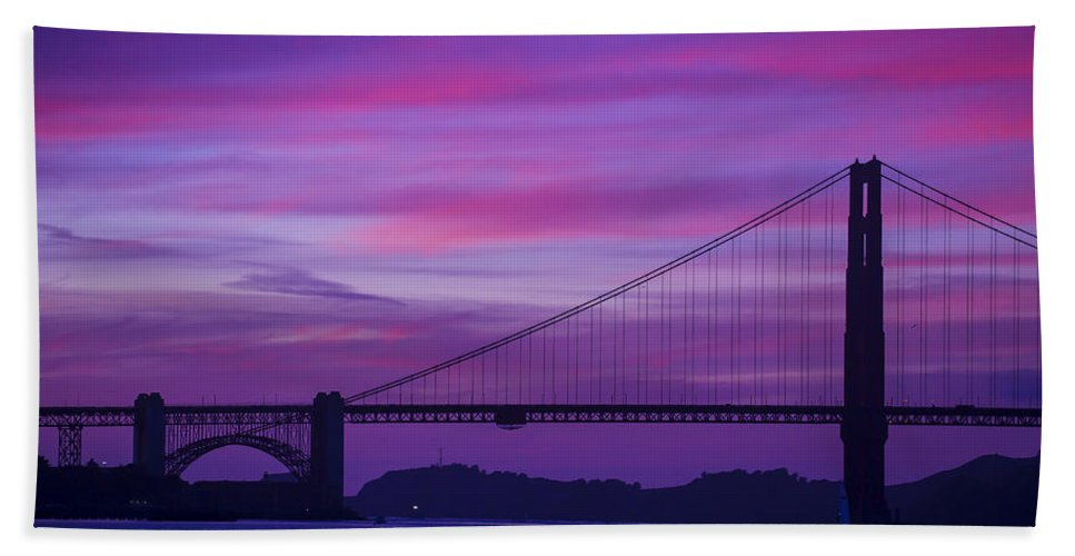 Golden Gate Bridge Tower Blue Sky Hand Towel featuring the photograph Golden Gate Bridge At Twilight by Garry Gay