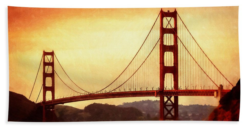 San Francisco Bath Sheet featuring the painting Golden Gate Bridge San Francisco California by Fine Art