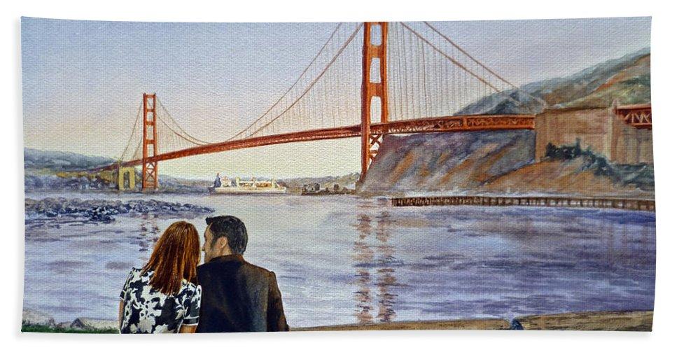 San Francisco Hand Towel featuring the painting Golden Gate Bridge San Francisco - Two Love Birds by Irina Sztukowski