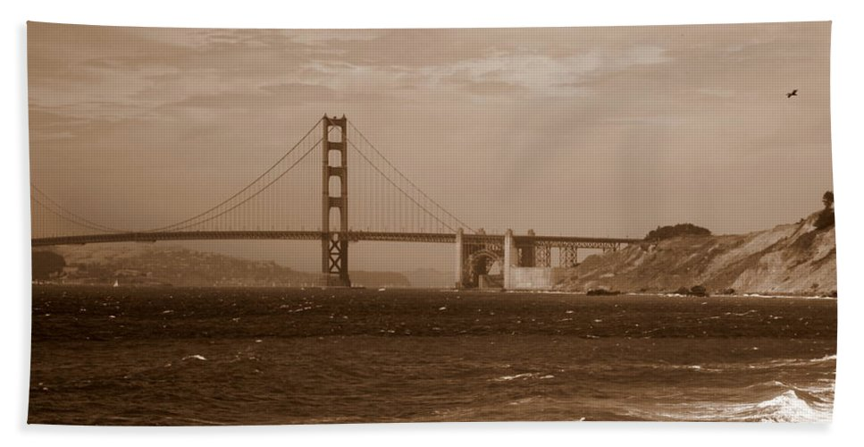 Golden Gate Bridge Bath Towel featuring the photograph Golden Gate Bridge With Surf Sepia by Carol Groenen