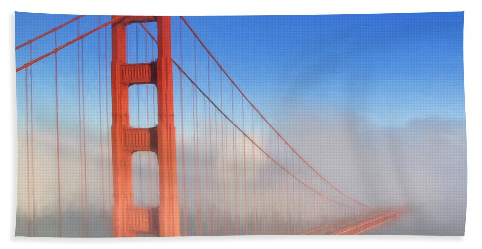 Bridge Bath Sheet featuring the painting Golden Gate In Morning Fog by Dominic Piperata