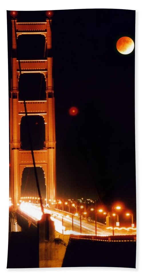 Bridge Hand Towel featuring the photograph Golden Gate Night by DJ Florek