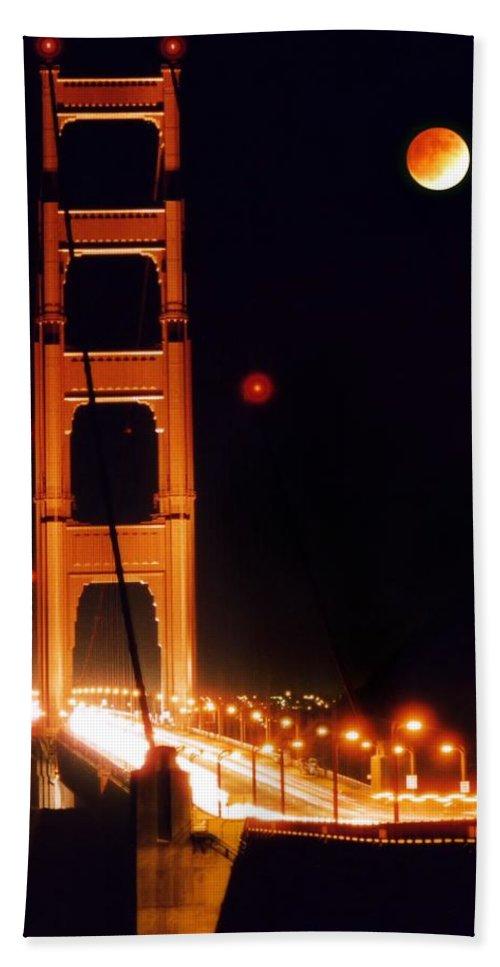 Bridge Bath Sheet featuring the photograph Golden Gate Night by DJ Florek