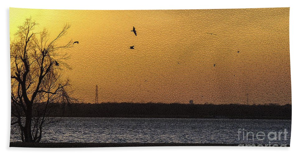Waterscape Hand Towel featuring the photograph Golden Glow by Betty LaRue