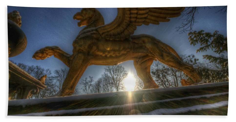 Ancient Hand Towel featuring the digital art Golden Griffin by Nathan Wright