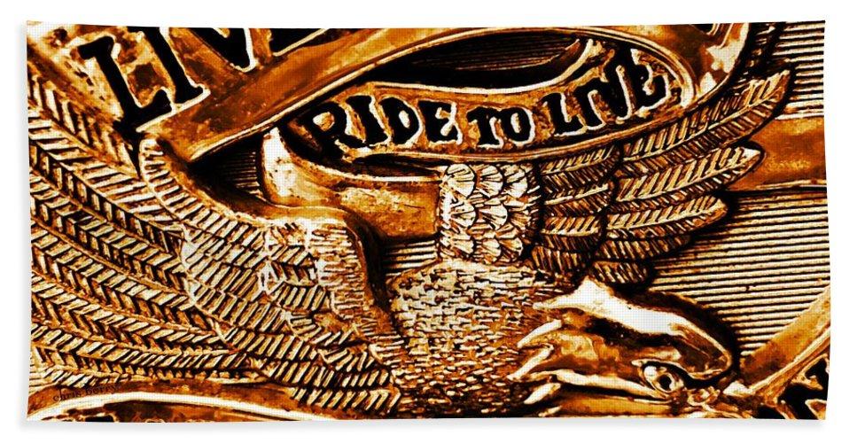 Logo Bath Towel featuring the photograph Golden Harley Davidson Logo by Chris Berry