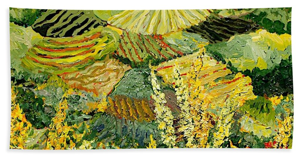 Landscape Bath Towel featuring the painting Golden Hedge by Allan P Friedlander