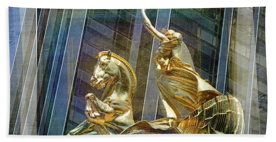 New York Statues Bath Sheet featuring the photograph Golden Horse In The City by Alice Gipson