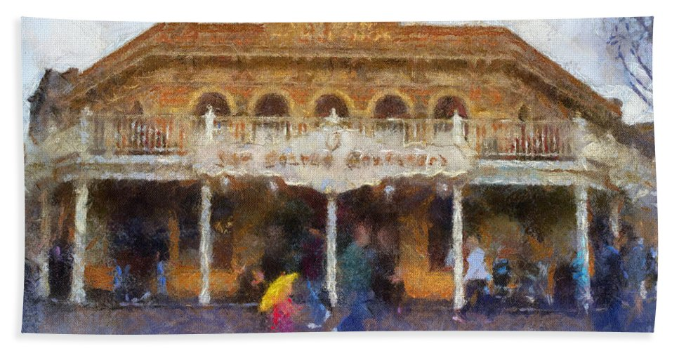 Disney Hand Towel featuring the photograph Golden Horseshoe Frontierland Disneyland Photo Art 02 by Thomas Woolworth