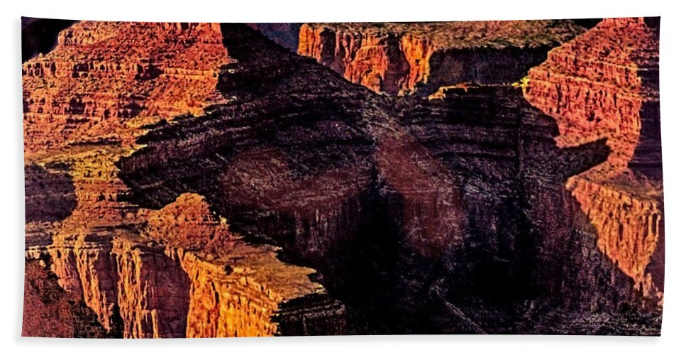 Amazing Hand Towel featuring the photograph Golden Hour Mather Point Grand Canyon National Park by Bob and Nadine Johnston