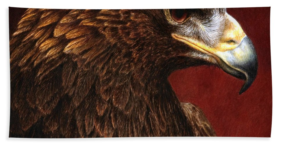 Eagle Hand Towel featuring the painting Golden Look Golden Eagle by Pat Erickson