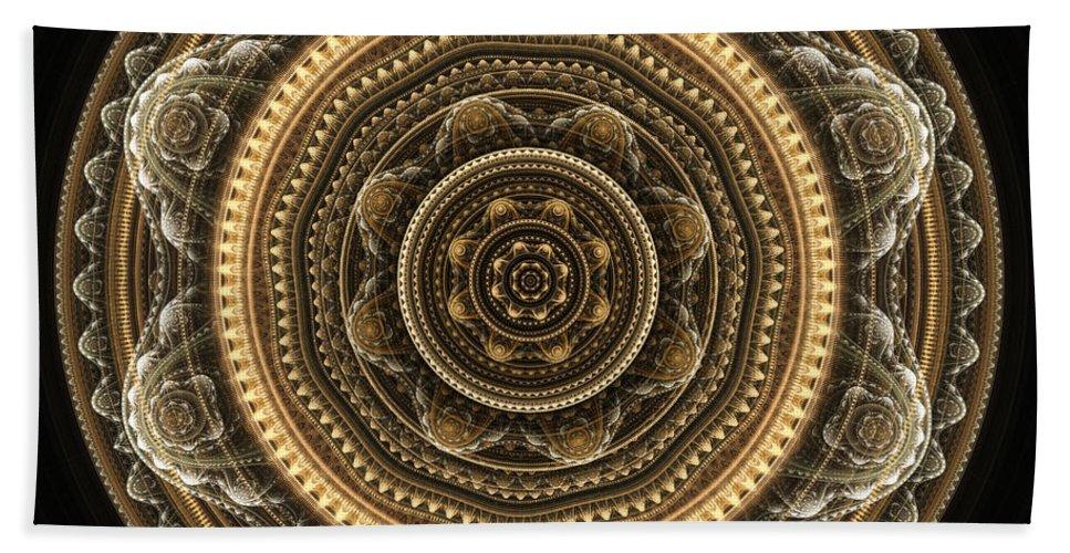 Mandala Bath Sheet featuring the digital art Golden Mandala by Martin Capek