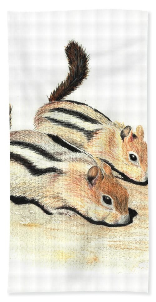 Nature Hand Towel featuring the painting Golden-mantled Ground Squirrels by Lynn Quinn