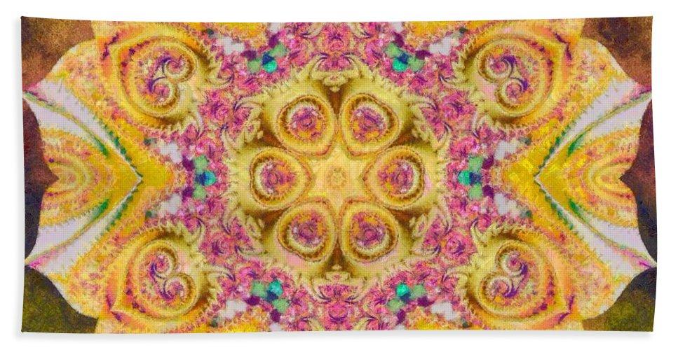 Sacredlife Mandalas Bath Sheet featuring the painting Golden Morning by Derek Gedney