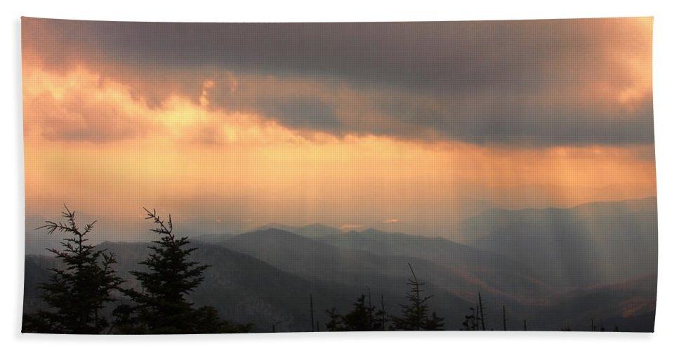 Sunset Bath Sheet featuring the photograph Golden Mountain Rays by Shari Jardina
