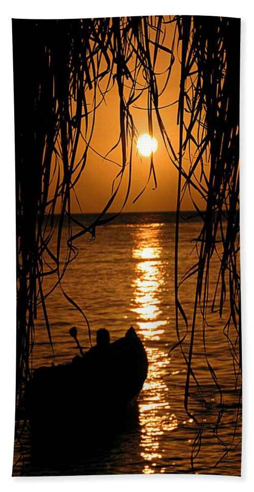 Gold Bath Sheet featuring the photograph Golden Palapa by Renee Sullivan
