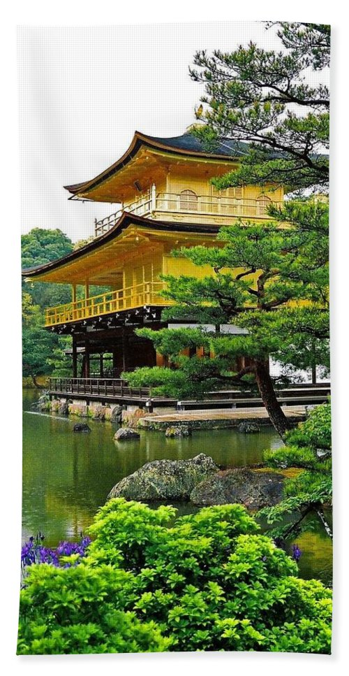 Asia Hand Towel featuring the photograph Golden Pavilion - Kyoto by Juergen Weiss