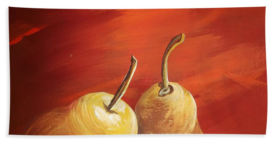 Pears Bath Sheet featuring the painting Golden Pear's by Katie Slaby